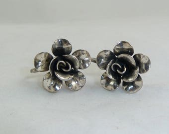 Vintage Sterling Silver Rose Screw Back Earrings