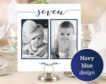 1-10 Personalized Photo Table Numbers Printable Numbers, Photo Table Number Cards Templates, Wedding Photo Cards Printable Templates