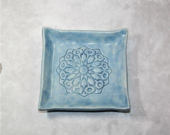 Blue Square Mandala ring dish. For bridesmaid, wedding favor, ring holder, prom, bride, coaster.