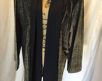 Vintage Folio By Fire Islander Metallic Long Open Jacket Black Silver Threading USA