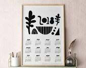 Poster Calendar 2018, Modern Calendar, Unique Calendar, Abstract Calendar, 2018 Wall Calendar 13x19