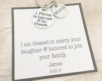 Father of the Bride Gift from Groom - I Promise to Take Care of Her Always - Father of the Bride Gift - Personalized Keychain