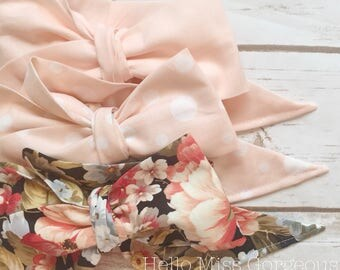 Gorgeous Wrap Trio (3 Gorgeous Wraps)- Light Pink, Dottie Light Pink & Twilight Floral Gorgeous Wraps; headwraps; fabric head wraps; bows