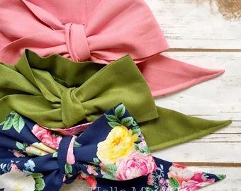 Gorgeous Wrap Trio (3 Gorgeous Wraps)- Vintage Pink, Olive & French Navy Floral Gorgeous Wraps; headwraps; fabric head wraps; bows