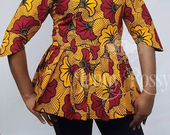 African clothing  pleated peplum  Ankara  Top African  Clothing blouse