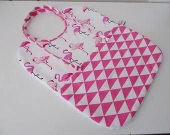 Baby bib Flemish kids pink triangles country