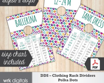 Dot Dot Smile Clothing Rack Dividers, Size Chart, Style Cards, Fashion Consultant, Polka Dots Design, Direct Sales, INSTANT DOWNLOAD