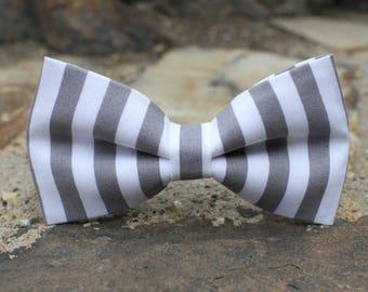 Black and White Stripe Bow Tie