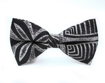 Black and Gray Tribal Bow Tie