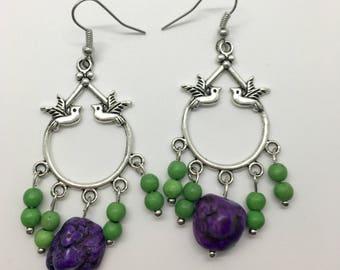 Dove Earrings, Magnesite Earrings, Dangle Earrings, Valentine's Day Earrings, Galentine's Day, Valentine's Day, Frida Kahlo Inspired Jewelry