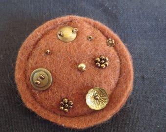 Brown ocher felt brooch