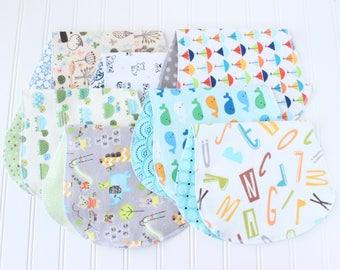 Baby Boy Burp Cloths - Set of 7 - Baby Shower Gift - Baby Gift - Woodland