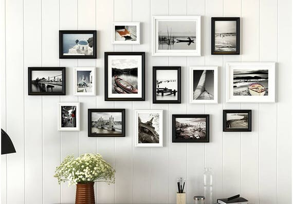 Retro 15 Pics Solid Wood Picture Photo Frame Set Black And