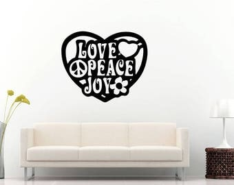 Love Peace Joy Love Heart Peace Sign Flower Wall Sticker Decal Vinyl Mural Decor Art L2291