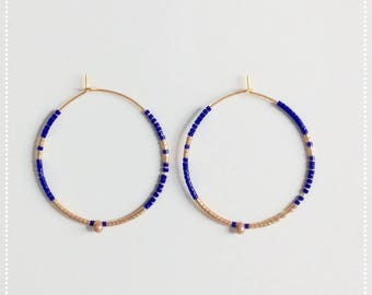 Earrings ears Bicolores blue and gold