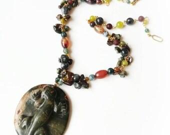 Jasper lizard pendant grey brown gemstones chain boho necklace handmade jasper necklace exclusive grey carved gemstone lizard gift for her