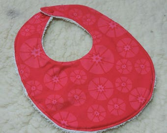 organic double red Terry cloth cotton baby bib