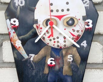 Jason Voorhees. Friday the 13th movies. Wooden wall coffin-clock Handmade wall clock. Coffin shaped. Gothic decoration. Horror film clock