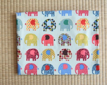 cotton color elephant fabric 1/2 yard blue