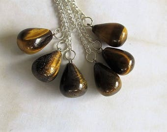 Reiki-Single Tigers Eye pendulum bob-Tigers Eye gemstone pendant-Tigers Eye necklace-scrying-healing-Chakras-divination-Wiccan-instructions