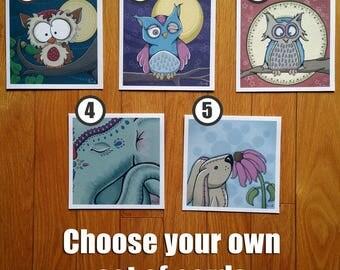 Set of 6: Animal art greeting cards (animal art note cards,animal blank cards,animal art cards,greeting cards set,owl cards,owl art cards)