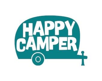 Retro Happy Camper Decal