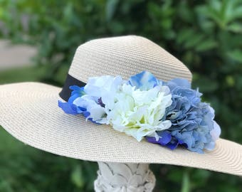 Adult Sun Hat, tea party hats, cream hat, blue hat, Adult hats