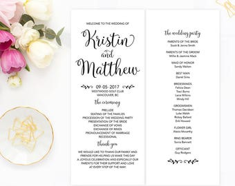 Wedding Program, Printable Program, Custom Wedding Program, DIY Wedding Program, Wedding Ceremony Program