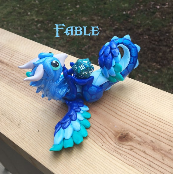 Phoenix/ Dragonling Hybrid Polymer Clay Dice Holder in Blues: Fable