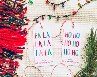 Fa La La & Ho Ho Ho Personalized Holiday Gift Tags