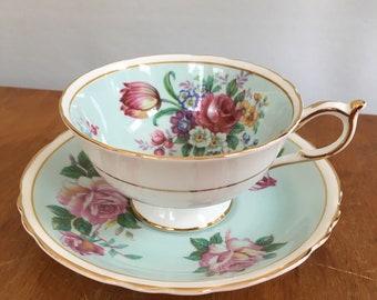 Vintage Paragon England Tea Cup & Saucer Fine Bone China Flowers Bouquet