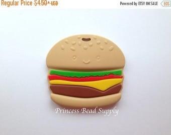 SALE Hamburger Silicone Teether,  Silicone Hamburger, Fast Food Teether,  100% Food Grade Silicone, Sensory Teether,  Silicone Teether