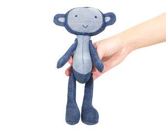 Stuffed Monkey animal. Ape stuffed. Plush monkey, ape. Blue denim jeans monkey, ape. Soft small toy Martysh. Softy little jean baby ape.