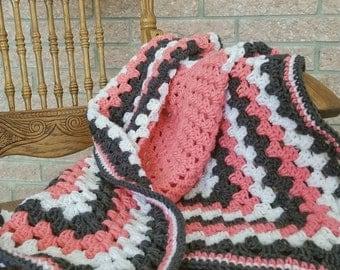 """Gray & Peach Crocheted Afghan • Gray and Coral Baby Blanket • Toddler Blanket • Papaya Blanket • Baby Girl Blanket • Spring Blanket •32""""x32"""""""