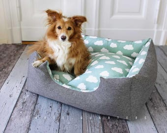 Dog bed, cat bed, clouds, mint green, gray, cat, dog, puppy, cozy, soft, upholstery, sturdy, mint, pet, sleeping, pillow