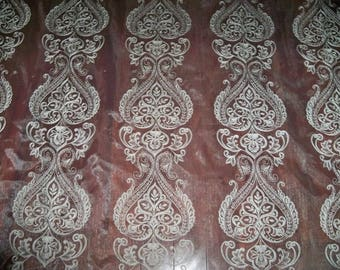 "KOPLAVITCH ORISSA Embroidered Sheer Organza Fabric 10 Yards DW 112"" antique"