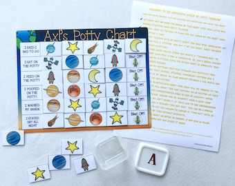 Blast Off Potty Chart, Potty training, Outer Space, Solar system, planets, reward chart, personalized, velcro, laminated, toilet training