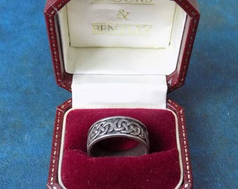 Superb Vintage .925 Sterling SILVER CELTIC Lovers Knot Ring 6.92g Size W vgc