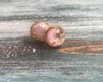 Pale Pink Gold Leaf Shimmer Stud Earrings - Pale Pink Gold Leaf Earring - Stud Earring - Pink Gold Leaf Shimmer - Shimmer Stud