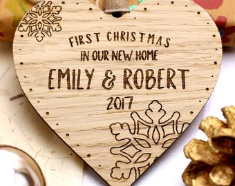 First 1st Christmas In New Home Decoration, First 1st Christmas In New Home Ornament Bauble, Personalised Wooden Christmas Xmas Tree Gift