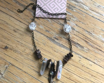 Wood and Angel aura crystal necklace