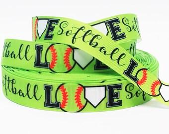 "7/8"" inch LOVE Softball on Neon Green Balls Sports Soft Ball Printed Grosgrain Ribbon for Hair Bow - Original Design"