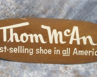 29.75 x 9.5 Thom McAn Best-Selling Shoe Vintage Wooden Advertising Sign Mancave