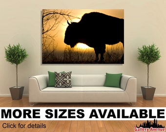 Wall Art Giclee Canvas Picture Print Gallery Wrap Ready to Hang Bison Dawn 60x40 48x32 36x24 24x16 18x12 3.2
