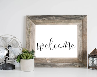 Welcome Wall Art, Home/Office/Dorm Welcome Sign, Simple Farmhouse Welcome Printable, Black and White Welcome Print, Gray Frames, Digital Art