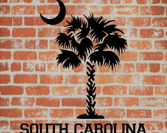 South Carolina Palmetto Tree, Palmetto State, SC, Beach, East Coast, Car Decal, Tumbler Decal, Crescent Moon, Palmetto
