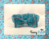 Martingale adjustable dog collar in blue red floral rose pattern