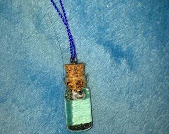 Tiny glass bottle necklace