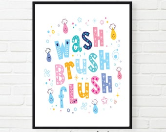 Wash Brush Flush Quote Bathroom Wall Art, Printable Bathroom art, kids bathroom art, bathroom decor,  bathroom wall decor
