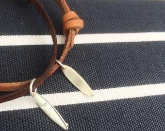 Silver Surfboard Leather Bracelet (surf bracelet, leather bracelet, surfing jewellery, man bracelet )